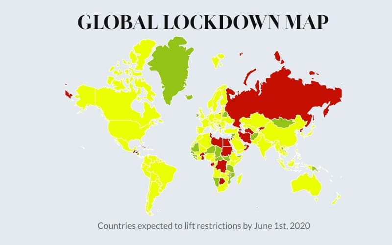 COVID-19 lock down map April 2020